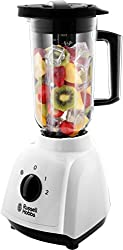 The Russell Hobbs jug blender 400 W is a multi-functional blender with two speeds and a pulse setting 1.5 Litre detachable plastic jug and detachable blades for easy cleaning Removable filling cap - makes it easier to add ingredients as you blend Saf...