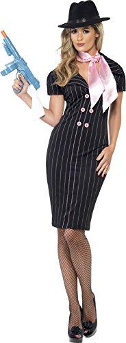 Smiffys-23697S Disfraz de compaera de gnster, con Vestido lpiz de Raya diplomtica y Bufanda, Color Negro, S-EU Tamao 36-38 (Smiffy'S 23697S)