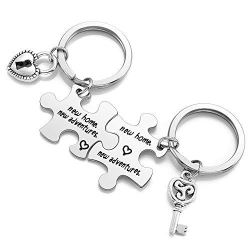 JSDDE 2 portachiavi a forma di puzzle con incisione 'New Home New Adventures', idea regalo per coppie e innamorati