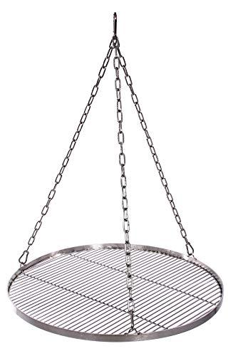 Grillrost 60 cm mit Kette Edelstahl für Schwenkgrill 3 Bein Grill Rost 10 mm Stababstand BBQ