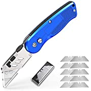 Tdbest Utility Knives, Box Cutter Knife Utility Knife Folding with Extra 11pcs Stainless Steel Blades, Quick Change and Lock-Back Design Portable Carpet Knife - Blue
