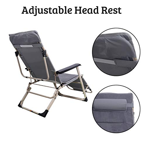 Livzing Adjustable Multi Position Relax Recliner Chair with Headrest and Soft Cushion Bed Portable Compact Folding Reclining Chair