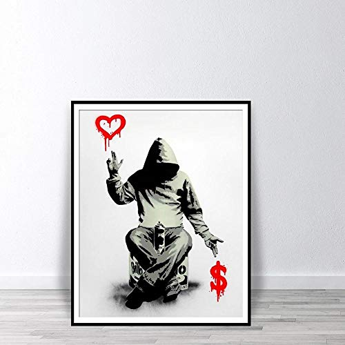 Banksy Wall Art Poster Graffiti Street Art Prints Boy Red Heart Dollar Sign Canvas Paintings Wall Pictures for Bedroom Home Decor No Frame-B2_50x70cm