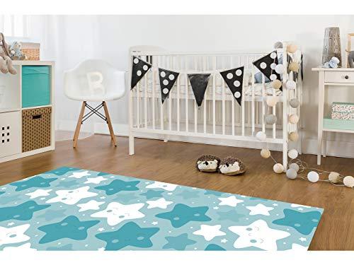 Oedim - Alfombra Infantil Estrellitas Azules PVC | 95 cm x 200 cm | Moqueta PVC | Suelo vinilico | Decoración del Hogar | Diseño Moderno, Original, Creativos