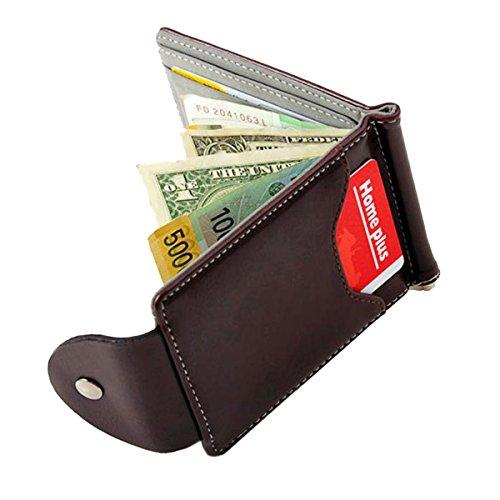 Uomo Sottile Fermasoldi in Pelle Portafogli Sottili Borsa Titolare Della Carta di Credito ID Portafoglio per Uomo (Grigio)