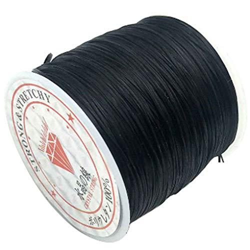 60m / Rollo de Hilo Rebordear la joyería Que Hace elástico Que rebordea la Cuerda de Rosca de Bricolaje Bricolaje Abalorios Pulsera de Hilo para el Collar de la Pulsera para el Tobillo, Negro