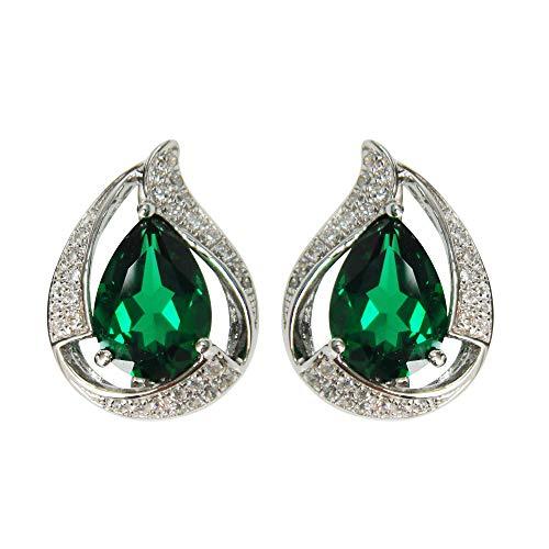 Navachi - Orecchini a perno in argento Sterling 925 placcato in oro bianco 18 ct, con smeraldo rubino a pera da 6 ct, colore: Green, cod. SIL-9736-1