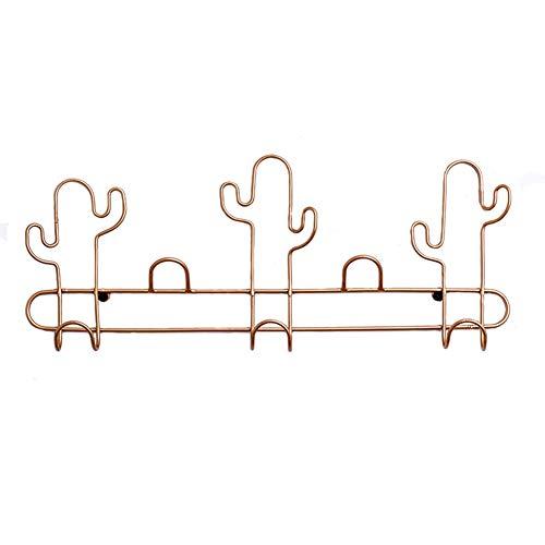 Patères Portemanteaux Porte-manteau Mural Crochets De Mur Porte Crochets Iron Art Shelf Creative Simple Clé De Chambre Cactus GAOFENG (Couleur : Or, taille : 43.5 * 4.5 * 17.5cm)