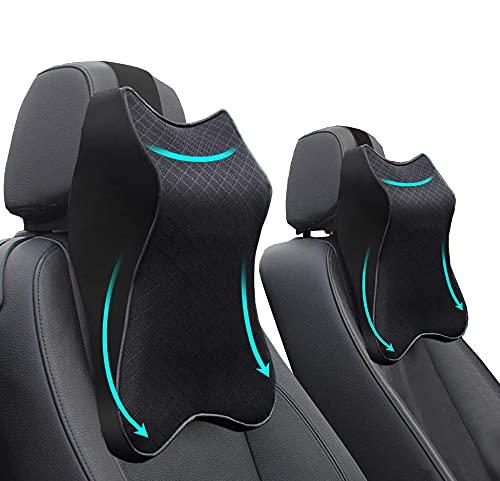 Car Seat Headrest Neck Rest Cushion - Ergonomic Car Neck Pillow Durable 100% Pure Memory Foam Carseat Neck Support - Comfty Car Seat Back Pillows for Neck/Back Pain Relief (Black 2pcs)