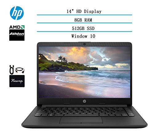 2020 HP 14 inch HD Laptop Newest for Business and Student, AMD Athlon Silver 3050U (Beat i5-7200U), 8GB DDR4 RAM, 512GB SSD, 802.11ac, WiFi, Bluetooth, HDMI, Windows 10 w/HESVAP 3in1 Accessories