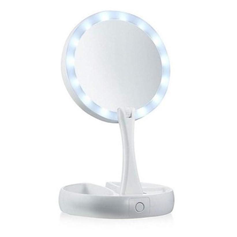 偶然の阻害する論争的QJYNS メイクアップミラーLED照明化粧台自然光タッチスクリーンデュアル電源調整可能なスタンド付き化粧品オーガナイザー