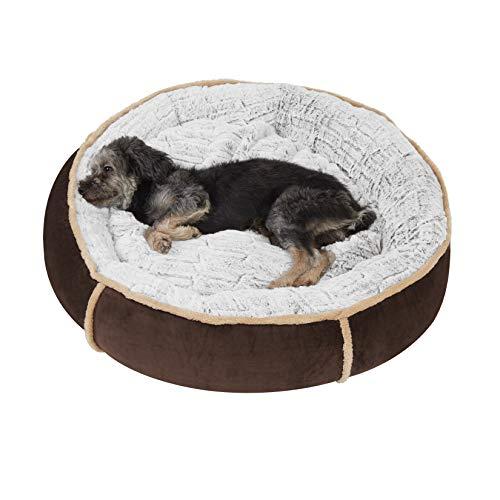BingoPaw Cama de Perros Redonda y Cálida, 72 x 18cm Sofá para Mascotas con Suave Cojín Extraíble, Colchoneta Perro Impermeable Desmontable y Lavable, Color Marrón