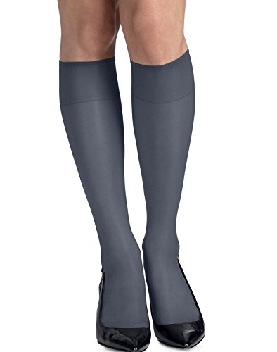 Hanes Silk Reflections Reinforced Toe Knee Highs 2-Pack, One Size, Classic Navy