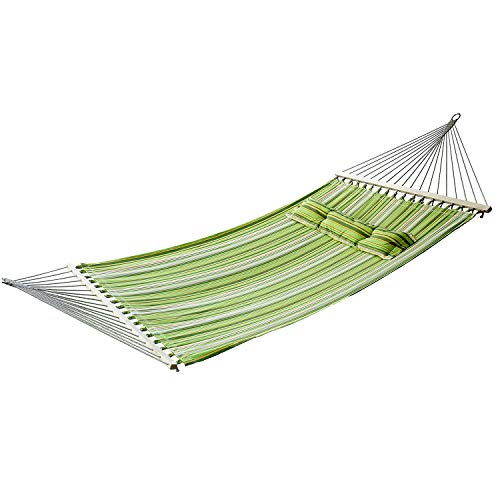 Outsunny Hammock 2 Person Camping Swing Outdoor Garden Beach Stripe Hanging Bed with Pillow 188L x 140W (cm)
