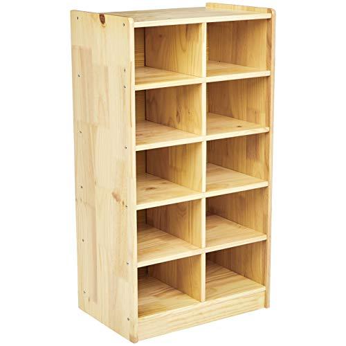 Amazon Basics Kids Vertical Storage Cubby, 10-Section Organizer, Wooden Finish