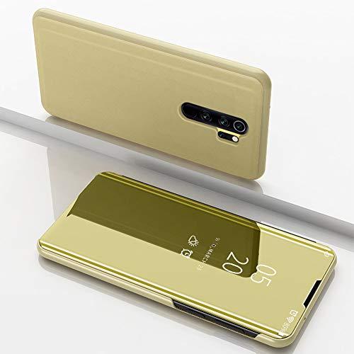 Nadoli Spiegel Hülle für Xiaomi Redmi 9,Clear View Mirror Effect Pu Leder Hart PC Zurück Buchstil Standfunktion Flip Schutzhülle Brieftasche für Xiaomi Redmi 9,Gold
