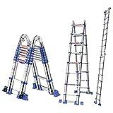 ZHPBHD Escalera telescópica Extra Alta con Barra estabilizadora, escaleras de extensión Plegable de Uso Pesado Multiusos, para Loft Interior/Exterior/Oficina/casa - Carga 250kg, Escalera de herr