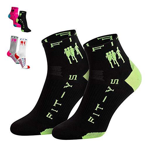 FIT-YS Quarter Socks Laufsocken für Männer und Frauen 1/4 Länge, von Sportlern für Sportler entwickelt / Sportsocken atmungsaktiv (One Size, Schwarz/ Grün)