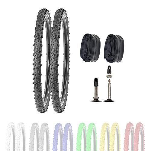 P4B | 2 neumáticos de bicicleta de 26 pulgadas 50-559 con cámaras SV en color negro | 26 x 1,95 | buen agarre en caminos de campo y terreno suelto gracias a los tacos exteriores e interiores.