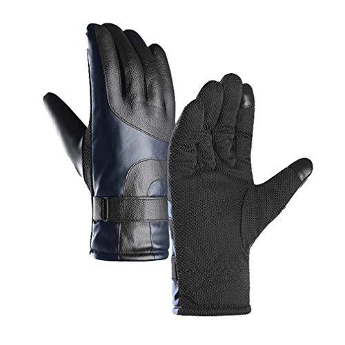 Kootk Herren Lederhandschuhe,Verdicken Warme Winddichte Wasserdichte Handschuhe, Zwei Finger Touchscreen Handfläche Rutschfestem Verschleißfeste Vollfinger Handschuhe für Outdoor Reiten Skifahren