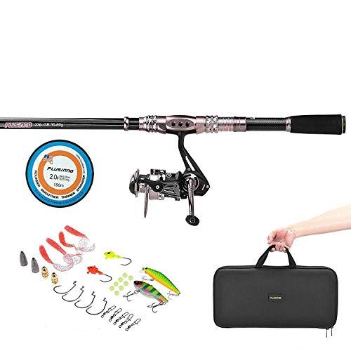 PLUSINNO telescópico juego de caña de pescar y carrete Combos completo Kit, organizador de Spinning pesca Polo juegos con línea señuelos ganchos carrete e hilo de pesca bolsa de transporte caso accesorio