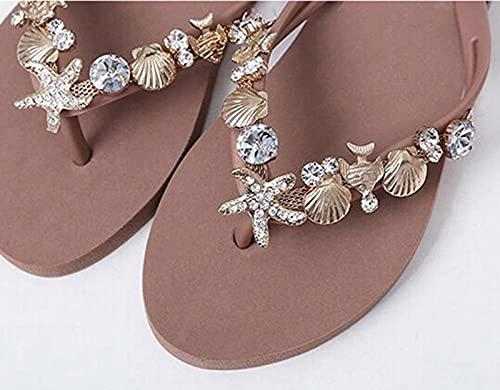 Zapatillas Casa Chanclas Sandalias Sandalias Flip Flop Adornadas con Concha Sandalias De Playa Zapatos Sin Cordones para Surf-Tan_39