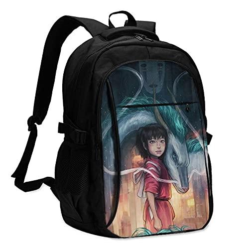 KsimYa Anime Spirited Away NigihayamiMochilas antirrobo mochila de viaje de negocios con cable de carga USB/interfaz de auriculares Mochila portátil