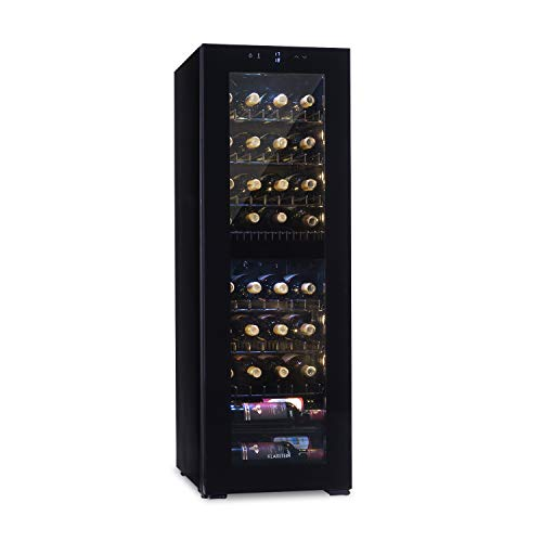 Klarstein Bellevin Wine Fridge - Wine Cooler, Refrigarator, Dual Zone, 6 Removable Metal Inserts, Touch Control, LCD Display, Temperature Display, Glass Front - 105 Litres, 39 Bottles, Black