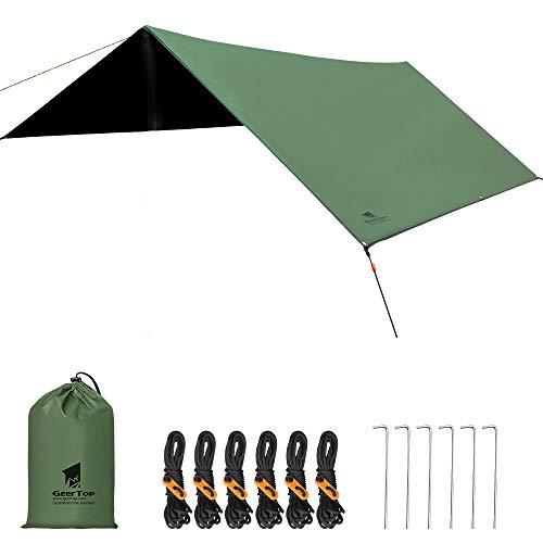 GEERTOP Zeltplane Wasserdicht, Camping Hammock Plane mit Ösen, Tent Tarp, Ultra-Leicht Regenschutz Sonnenschutz für Ourdoor Backpacking Camping