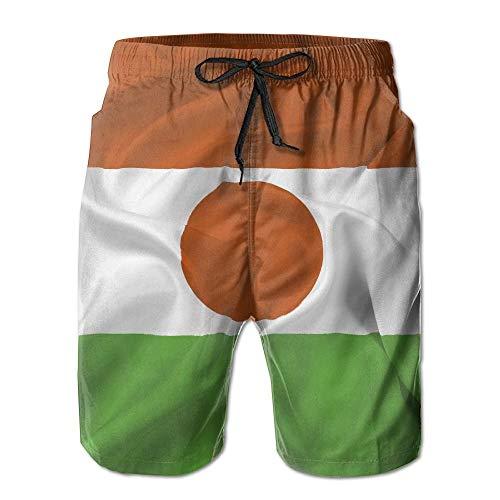 FAVIBES Retro Niger Flagge Quick Dry Lace Boardshort Strand Shorts Hosen Badehose Sprüche Männer Badeanzug Mit Taschen,Größe M