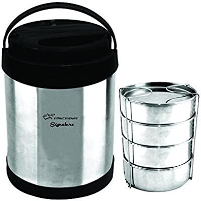 Princeware - L7206-4 Signature Premium Stainless Steel Tiffin Set, 630ml, Set of 4, Assorted
