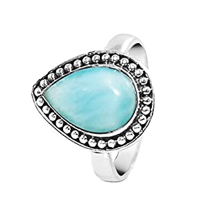 Pear Cut Natural Dominican Larimar Ring in 925 Sterling Silver