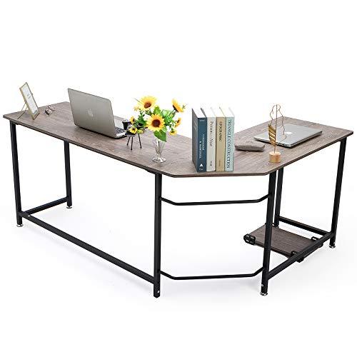 MUEBLES HOME - Escritorio de oficina en forma de L con soporte de CPU para esquina, escritorio, computadora portátil, mesa de juegos con marco de metal para oficina en el hogar