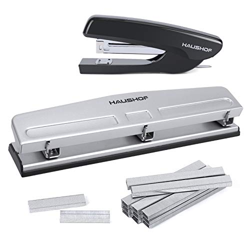 HAUSHOF Desktop Stapler and 3-Hole Punch Set with 5000-Piece...