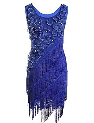 Blue Halo Women's 1920s Beaded Fringe Scalloped Petal Plus Size Flapper Dress