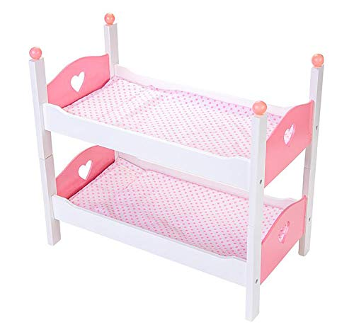 Engelhart - Muebles de Madera para muñecas bebé - Muebles y Accesorios a Juego - Cama, Trona, literas, Cuna, Cambiador, cómoda - Rosa y Blanco (literas)