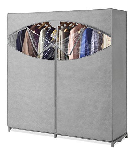 Whitmor Portable Wardrobe Clothes Storage Organizer Closet with Hanging Rack - Extra Wide -Grey Color - No-tool Assembly - Extra Strong & Durable - 60'L x 19.5'W x 64'