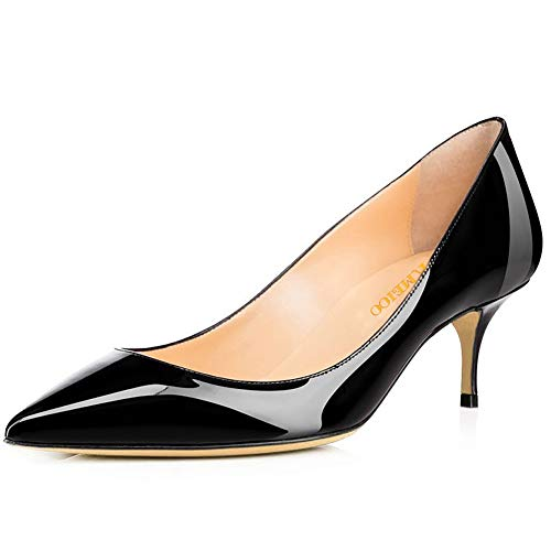 Divanne Pumps for Women, Women's Low Heel Pumps Pointy Toe Kitten Heels Silp On Office Shoes-Black-6.5M US