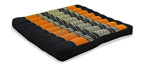 livasia Sitzkissen Stuhlauflage groß I Bodenkissen Indoor/Outdoor I Meditationskissen Yogakissen I Stuhlauflage für Palettenmöbel I Steppkissen für Stuhl und Bank 50 x 50 x 6,5 cm (Schwarz/Orange)