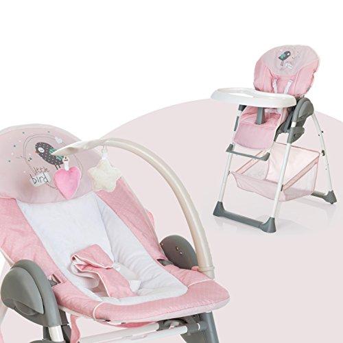Hauck Sit'n Relax Newborn Set – Neugeborenen Aufsatz und Kinderhochstuhl ab Geburt, mit Liegefunktion / inkl. Spielbogen, Tisch, Rollen / höhenverstellbar, mitwachsend, klappbar, Birdie, rosa
