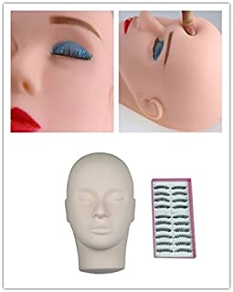 BHD BEAUTY Eyelash Practice Head with Replacement Mask Flesh Color PVC Makeup Training Mannequin for Cosmetology