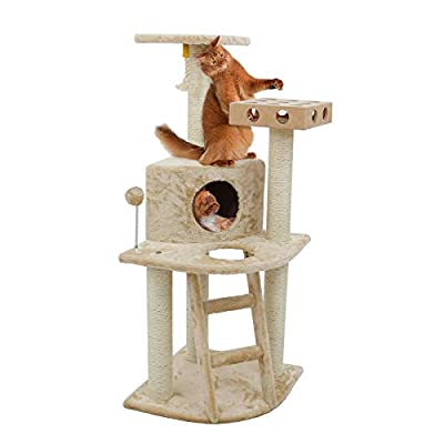 Furhaven Pet Cat Tree | Tiger Tough Cat Tree House Condo Entertainment Playground Furniture for Cats & Kittens, Deluxe Clubhouse w/ Cat-IQ Busy Box, Beige
