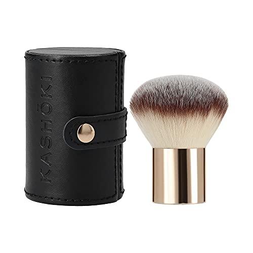 T4B KASHOKI 200 Kabuki Brush Gesichts Gold Rosa Schminkpinsel für Fondation aus Synthetischen Taklon-Fasern mit Schwarzes und Komfortable Pinselhalter