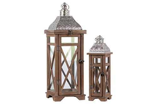 Urban Trends 26126 Square Lantern with Silver Pierced Metal Top and Ring Hanger in Natural Wood Finish (Set of 2), Brown