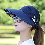 Sombreros para el Sol para Mujeres Viseras Sombrero PescaPlaya Sombrero Protección contra los Rayos UV Negro Casual Mujeres Verano Gorras Cola de Caballo Sombrero de ala Ancha-1 Navy