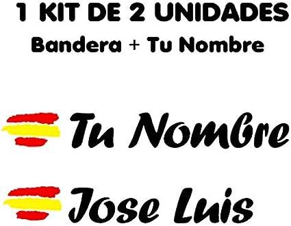 Pegatina Vinilo Bandera España + tu Nombre - Bici, Casco, Pala De Padel, Monopatín, Coche, Moto, etc. Kit de Dos Vinilos (Negro): Amazon.es: Coche y moto
