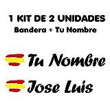 Pegatina Vinilo Bandera España + tu Nombre - Bici, Casco, Pala De Padel, Monopatín, Coche, Moto, etc. Kit de Dos Vinilos (Negro)