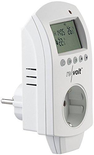 revolt Frostwächter Steckdose: Digitales Steckdosen-Thermostat für Heiz- & Klimageräte, 3.680 Watt (Zeitschaltuhr mit Thermostat)