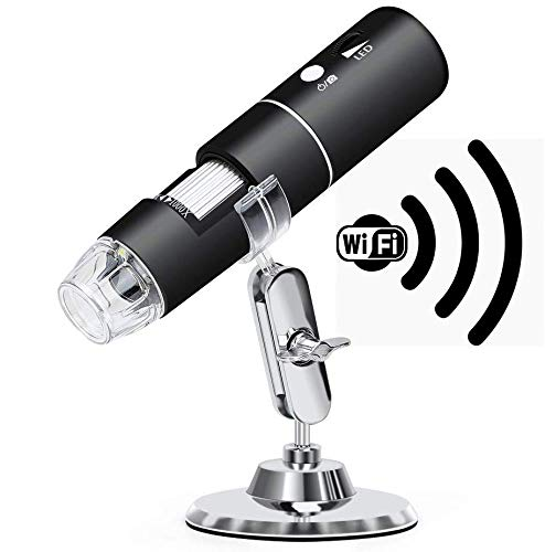 Wireless Digital Microscope, Rechargeable USB Microscope 50X to 1000X WiFi Handheld Zoom Magnification Endoscope Magnifier 1080P FHD 2.0 MP 8 LED Compatible with Android and iOS Smartphone or Tablet,