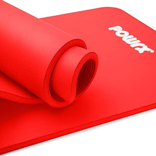 POWRX Tappetino Fitness 183 x 60 x 1 cm - Tappeto Palestra Ideale per Ginnastica, Yoga e Pilates - Ecocompatibile con Tracolla e Sacca Trasporto - Antiscivolo + PDF Workout (Rosso)